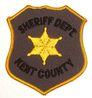 KENT COUNTY MICHIGAN MI Police Sheriff Patch GOLD STAR VINTAGE OLD MESH ~