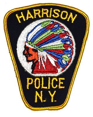 HARRISON NEW YORK NY Police Sheriff Patch INDIAN NATIVE AMERICAN VINTAGE OLD ~