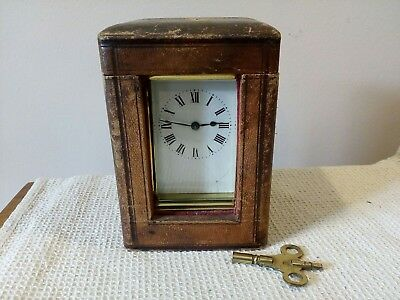 Vintage French Carriage Clock In Case Enamel Face For Repair With Key