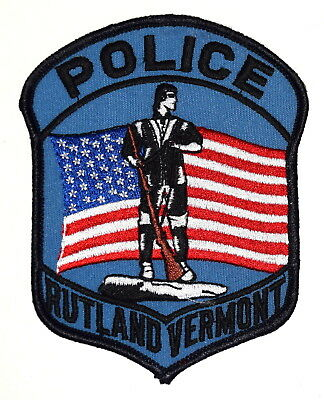 RUTLAND VERMONT VT Police Sheriff Patch REVOLUTIONARY WAR SOLDIER RIFLE FLAG ~