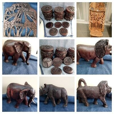 Job Lot of Vintage Animal Ornaments Hand Carved. Various Sizes. Some with Damage