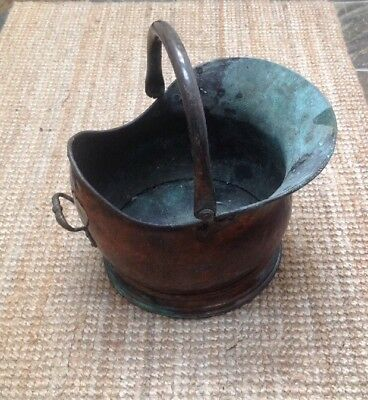 Large Old Copper Coal Bucket Helmet Shaped Distressed