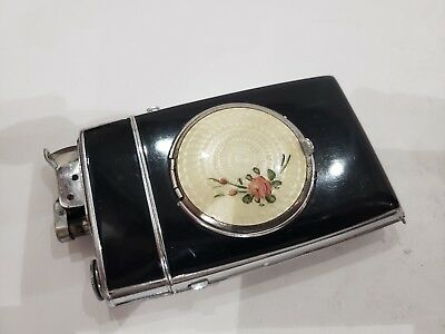 VINTAGE Art Deco GOULOCHE ENAMEL WORKING EVANS LIGHTER, Cigarette Case  COMPACT