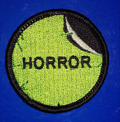 HORROR Section - Embroidered PATCH - VHS, 80s, video store, tape sticker