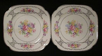 "2 Edwin Knowles KNO1034 Square Salad Plates 7"" VHTF w/ issues"
