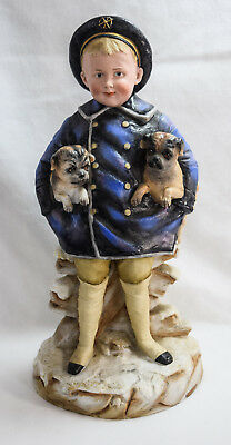 """Rare - German Bisque - """"Boy in Sailor Suit with Twin Pugs"""" - by Gebruder Heubach"""
