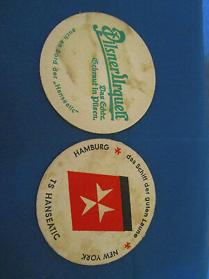 2 original Bierdeckel der TS Hanseatic (ca. 1966?) Hamburg-New York