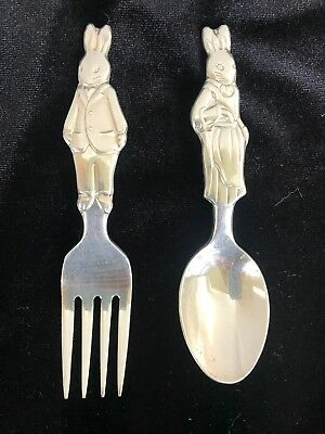 Royal Doulton Bunnykins Silver Baby Spoon And Fork Set