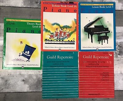 LOT OF 5 PIANO MUSIC & INSTRUCTION BOOKS Alfreds & Guild Repertoire Interm A & B