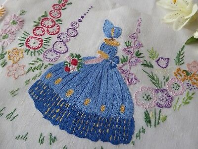 Vintage Hand Embroidered Picture Panel Of Beautiful Embroidered Crinoline Lady