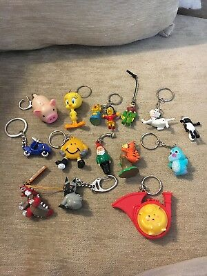 Collection of Vintage Retro Keyrings / Key Rings - TV Characters Job Lot