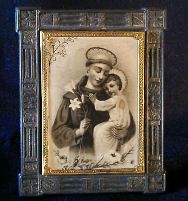 """Antique GERMANY-Stamped Tin Frame with decorative Brass Bezel-3"""" CHRISTIAN ICON"""