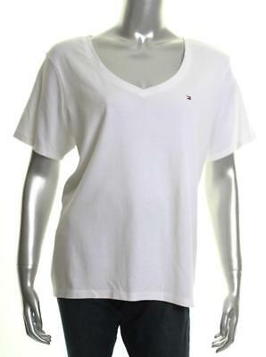 54a005c59 TOMMY HILFIGER WOMENS Striped Short Sleeves V-Neck T-Shirt Top Plus ...