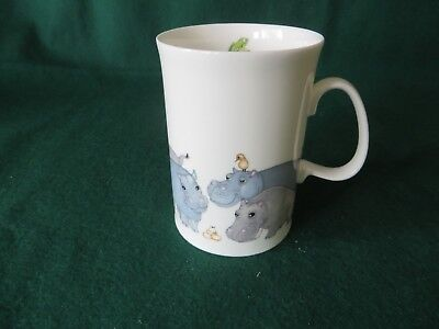 DUNOON BEASTIES (HIPPO'S) MUG by CERRY DENMAN, FINE BONE CHINA IN VGC MADE IN EN