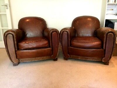 Pair of French 1940's Vintage Leather Club Chairs