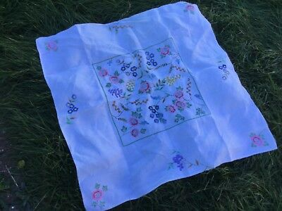 Small Vintage Hand Embroidered Tablecloth  for Upcycling Or Repair 80 cms square