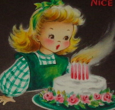 "Vintage birthday card, sweet girl blowing out candles on cake, Hallmark 5"" used"