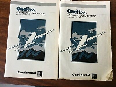 Lot of Two OnePass Continental Airlines System Timetables from Early 1990s