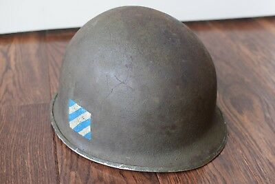 WWII US M1 HELMET FIXED BALE 3rd Infantry Division w/ Liner