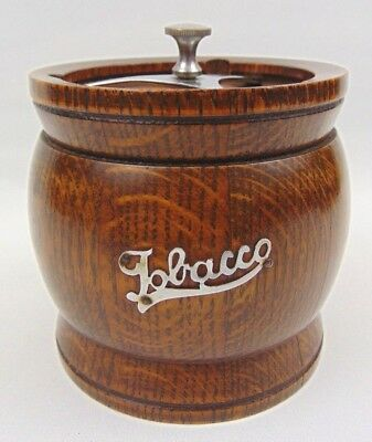 Lovely Solid Oak Wood Tobacco Jar With Screw Lock And Insert - 1930s - vintage