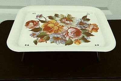Vintage MCM Metal Lap Serving Tray TV Tray Floral 17.5 x 12.5