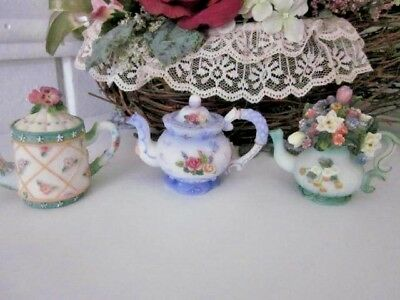 sweet set of three detailes floral collectible miniature little teapots