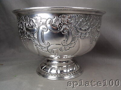 Viners English Silver Plate Hand Chased Fruit Punch Bowl