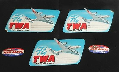 Lot Vintage TWA Airlines Paper Luggage Labels, Air Mail, Trans World Airlines