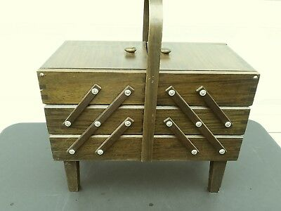 Vintage Singer 3 Tier Accordion Fold Out Expandable Wood Sewing Box Basket