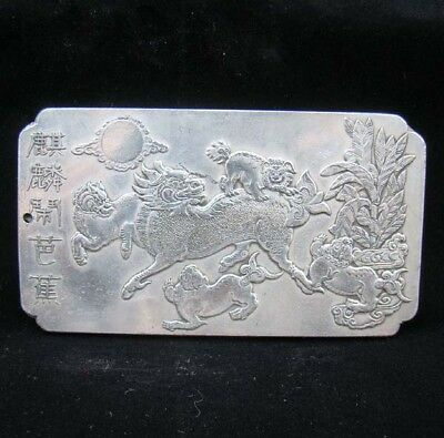 Collectable Handmade Carved Statue Tibet Silver Amulet Pendant Unicorn