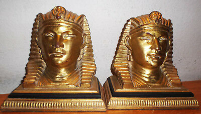 """Vintage Pair Large 4.5x8.5x10"""" each BOOKENDS EGYPTIAN Heavy Good Cond.BIN SAVE"""
