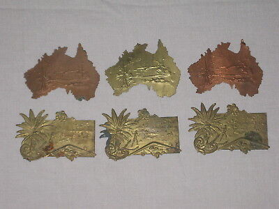 Victorian Pressed Brass & Copper Plates - Souvenir Labels - Australiana - Rare