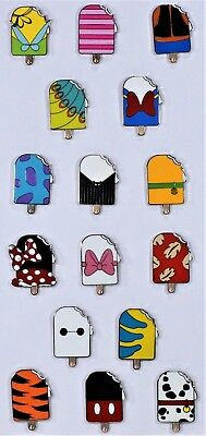 Disney 2018 Ice Cream Popsicle Mystery Pack Collection Complete 16 Pin Set NEW