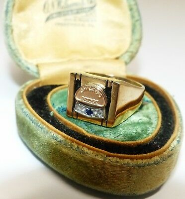 Men's Vintage Chicago Bridge & Iron 10K Gold & Diamond Ring w/ Original Case