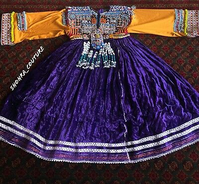 Kuchi Afghan Nomad Banjara Traditional Tribal Boho Winter Handmade Velvet Dress