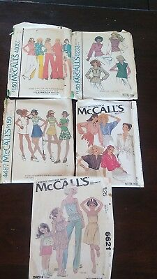 Vintage McCall's Sewing Patterns 4467, 4905, 5233, 6536, 6621 Pre-owned