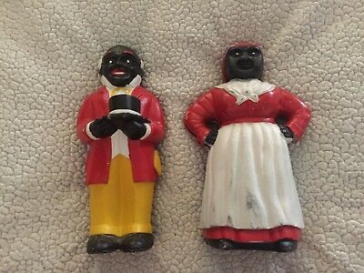 Vintage  Cast Iron Uncle Moses And Aunt Jemima Black Americana Doorstop Banks