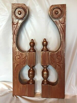 Pair Antique Carved Victorian Eastlake Style Walnut Shelf Pediment Corbel