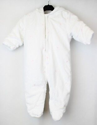 Baby Girls NEXT White Padded Hooded Cotton Lined All-in-One Snowsuit 3-6 Months