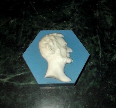 Abraham Lincoln Mosaic Tile Co. Zanesville OHIO Paperweight Cameo ~FREE SHIPPING