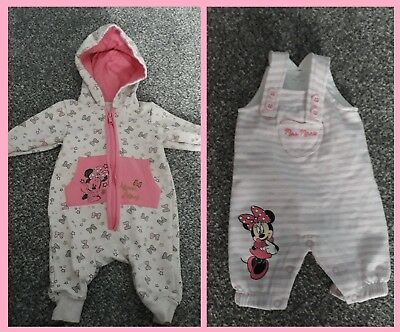 Minnie Mouse Disney girls Hooded pyjama body suit and dungarees 0-3 months