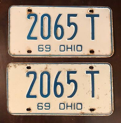1969 Ohio License Plates, Blue and White, Matching Pair, 2065 T