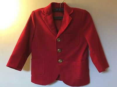 Vintage Boys Red Wool Jacket Sportcoat Sz 3