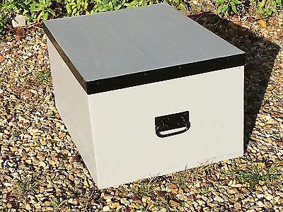 A Vintage Solid Pine Trunk Painted Matt Grey with Original Metal Banding