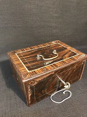 A Vintage Or Antique Metal Triple Lock Safe Box & Antique Wooden Money Box