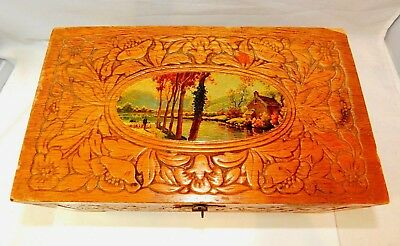 Vintage Carved Wooden Cedar Jewelry Box Floral Nature Fall Scene