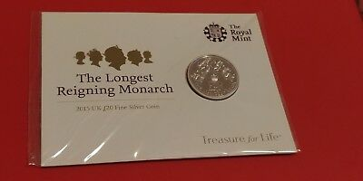 The Royal Mint 2015 UK £20 Fine Silver Coin The Longest Reigning Monarch