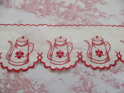 UNUSED VINTAGE FRENCH SHELF RUNNER / EDGING EMBROIDERED COFFEE POT DESIGN-2m