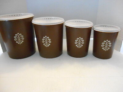 Vintage Set Of 4 Servalier Chocolate Brown Tupperware Nesting Canisters.