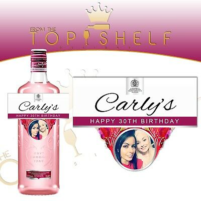 Personalised London Pink Gin photo bottle label any occasion